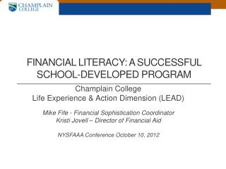 Financial literacy: a successful school-developed program