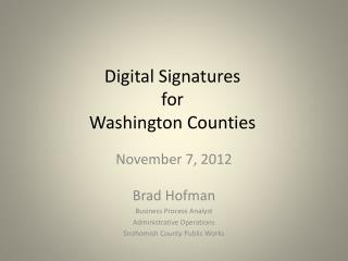 Digital Signatures for Washington Counties