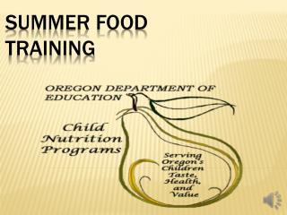 SUMMER FOOD TRAINING