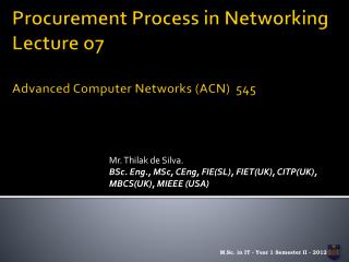 Procurement Process in Networking Lecture o7 Advanced Computer Networks (ACN)  545