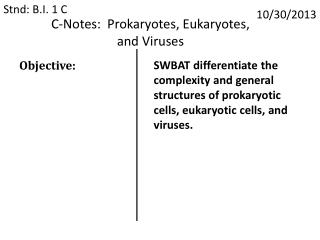 C-Notes:  Prokaryotes, Eukaryotes,  and Viruses