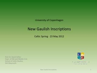 University of Copenhagen New Gaulish Inscriptions Celtic Spring  ·  23 May 2012