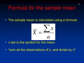 Formula for the sample mean