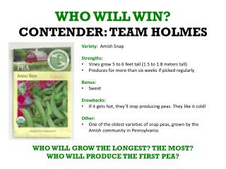 WHO WILL WIN? CONTENDER: TEAM HOLMES