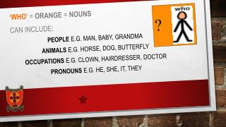 'WHO'  =  orange  =  nouns Can include:  people  e.g. man, baby, Grandma