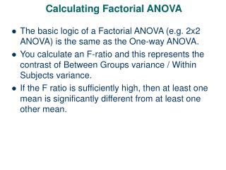 Calculating Factorial ANOVA