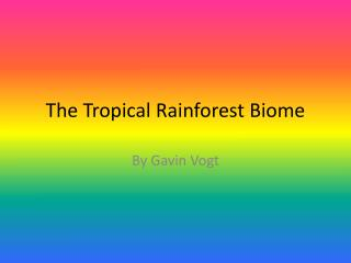 The Tropical Rainforest Biome