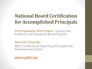 National Board Certification for Accomplished Principals