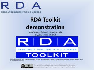 RDA Toolkit demonstration Jenny Stephens, National Library of Australia