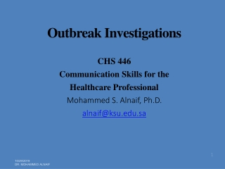 Fundamentals of  Epidemiology and Outbreak Investigations