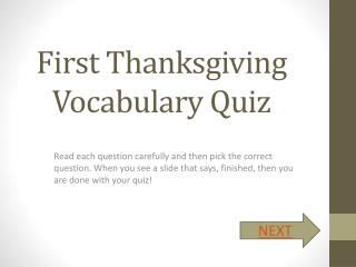 First Thanksgiving Vocabulary Quiz