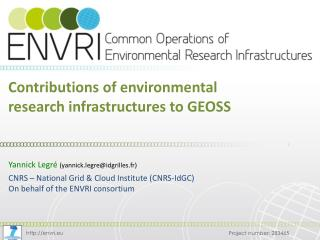 Contributions of environmental research infrastructures to GEOSS
