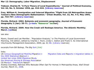 Mar 12: Demography, Labor Migration, Displacement