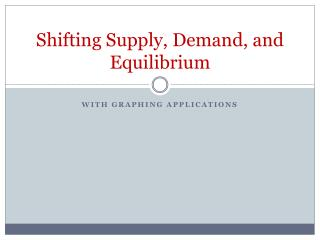 Shifting Supply, Demand, and Equilibrium