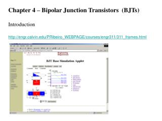 Chapter 4 – Bipolar Junction Transistors  (BJTs)