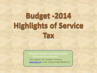Budget -2014 Highlights of Service Tax