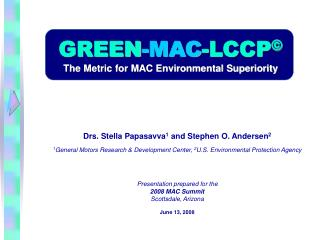 GREEN -MAC -LCCP © The Metric for MAC Environmental Superiority
