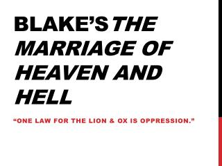 Blake's The marriage of heaven and hell