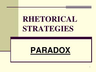 RHETORICAL STRATEGIES