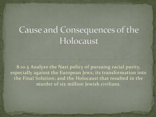 Cause and Consequences of the Holocaust