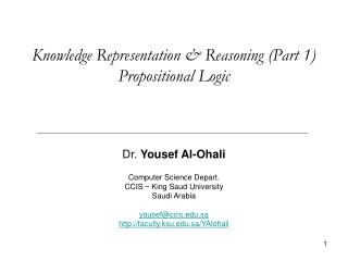 Knowledge Representation & Reasoning (Part 1) Propositional Logic