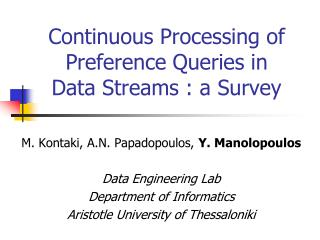 Continuous Processing  of  Preference Queries  in  Data Streams : a Survey