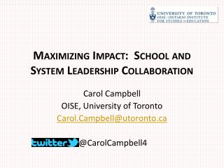 Maximizing Impact:  School and System Leadership Collaboration