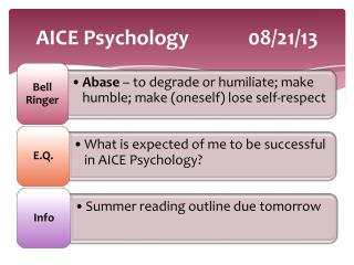 AICE Psychology 		08/21/13