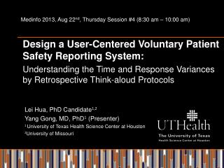 Design a User-Centered Voluntary Patient Safety Reporting System: