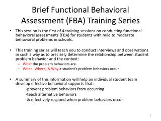 Brief Functional Behavioral Assessment (FBA) Training Series