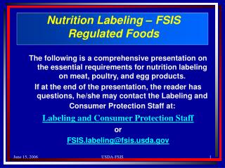 Nutrition Labeling – FSIS  Regulated Foods