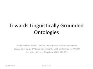 Towards Linguistically Grounded Ontologies