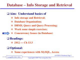 Database – Info Storage and Retrieval