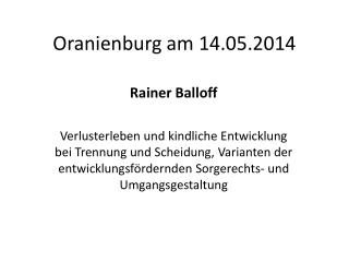 Oranienburg am 14.05.2014