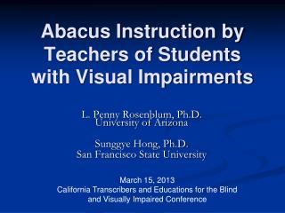 Abacus Instruction by Teachers of Students with Visual Impairments