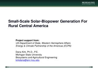 Small-Scale  Solar-Biopower Generation For Rural Central America