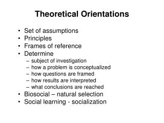 Theoretical Orientations