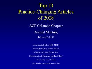 Top 10  Practice-Changing Articles  of 2008