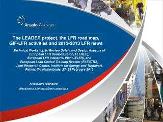 The LEADER project, the LFR road map,  GIF-LFR activities and 2012-2013 LFR news
