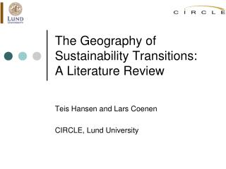 The Geography of Sustainability Transitions:  A  Literature Review