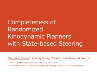 Completeness of Randomized Kinodynamic Planners with  S tate-based Steering