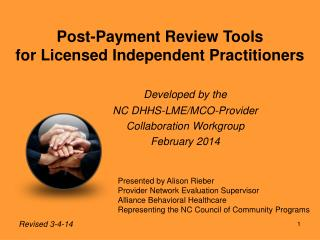 Post-Payment Review Tools for Licensed Independent Practitioners