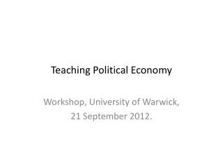 Teaching Political Economy