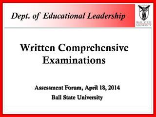 Dept. of Educational Leadership
