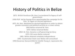 History of Politics in Belize