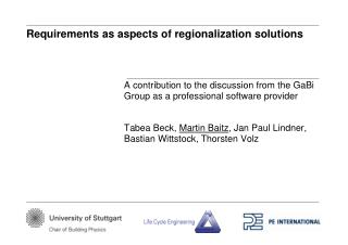 Requirements as aspects of regionalization solutions