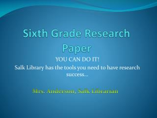 Sixth Grade Research Paper