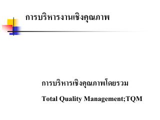 Total Quality Management;TQM