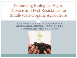 Enhancing Biological Vigor, Disease and Pest Resistance for Small-scale Organic Agriculture