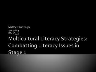Multicultural Literacy Strategies: Combatting Literacy Issues in Stage 1
